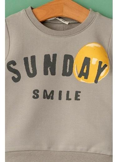 Cigit Sunday Smile Sweatshirt Gri